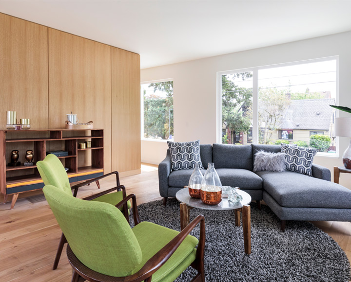 Staging your Edmonton condo or home so it will look as good as this classic mid-century modern living room in green and blue